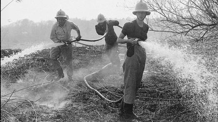 Josephine Reynolds at a grass fire in Brandon in 1984. Picture: Archant library