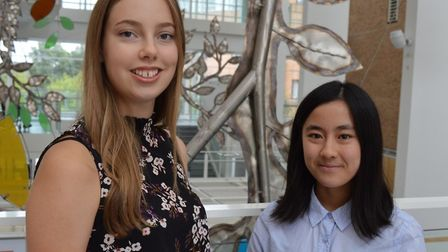 Mia Dale (Left) and Kirsty Wong who are on work experience at NNUH with Nuffield research placements