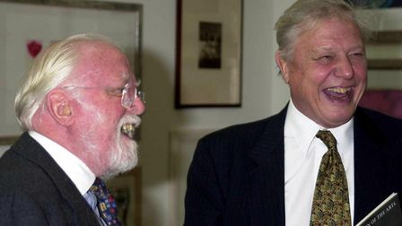 Lord Attenborough with his brother Sir David Attenborough at the Royal Academy of Art in Piccadilly,