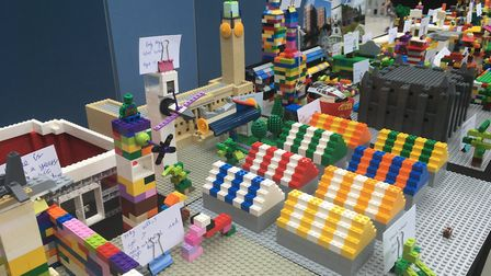 Lego structures made by Lanpro, Pro:works and children at the event. Picture: Abigail Nicholson