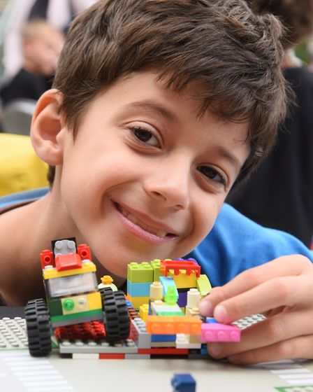 Nikola Petrov, eight, with his futuristic Lego model at the Forum. Picture: DENISE BRADLEY