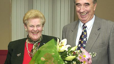 Farming campaigner Lorna Richardson has died aged 82. She is pictured receiving a bouquet from the l