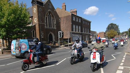 Dozens of scooters and motorcycles joined the procession for Jac Coffey's funeral Picture: Chris Bi