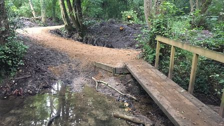 Work by Norfolk Trails to improve drainage and access on Boudicca Way at Shotesham. Picture: Simon P