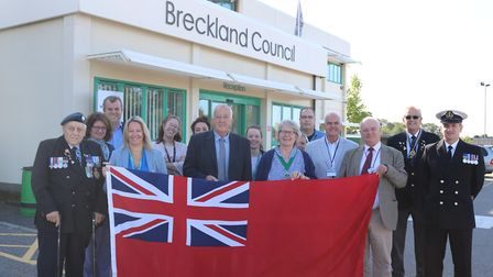 Breckland Council marked Merchant Navy Day with a special flag raising ceremony. Picture: Supplied b