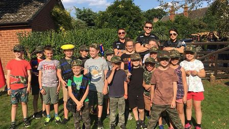 Police posed for pictures with children at the Nerf gun party after being called to reports of gunfi