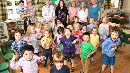 The Norwich Montessori School in Colney celebrate receiving its outstanding Ofsted report in 2015.