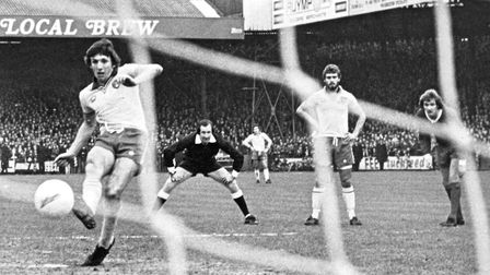 Martin Peters scores from the spot in Norwich's 5-3 defeat to Liverpool. He would go on to play for