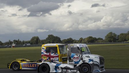 The trucks of Oly Janes (22) and Richard Collett (95), the winner of race two at last year''s meetin