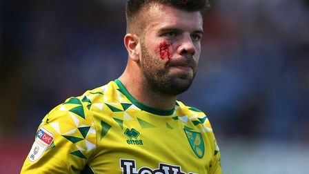Norwich skipper Grant Hanley was in the thick of the action at Portman Road Picture: Paul Chesterton