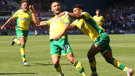 Moritz Leitner celebrates his Portman Road equaliser for the Canaries Picture: Paul Chesterton/Focus