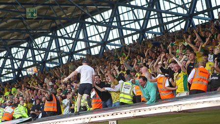Norwich City fans enjoy their latest chance to celebrate at Portman Road, following Moritz Leitner's