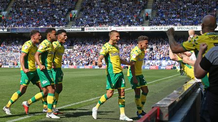 Moritz Leitner of Norwich celebrates scoring his sides 1st goal during the Sky Bet Championship matc