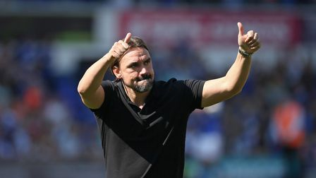 Norwich Head Coach Daniel Farke gives the thumbs up to the the traveling Norwich fans at the end of