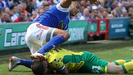 Grant Hanley tangles with Kayden Jackson at Portman Road Picture: Paul Chesterton/Focus Images Ltd