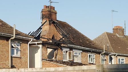 The roof of the house in Losinga Road, King's Lynn, has been completely destroyed Picture: Chris Bi