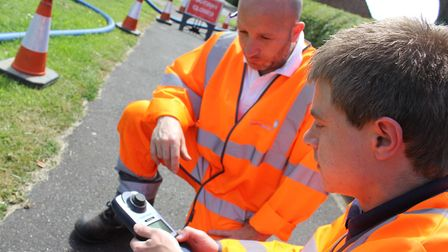 An Anglian Water team at work detecting and repairing leaks. Picture: Anglian Water.