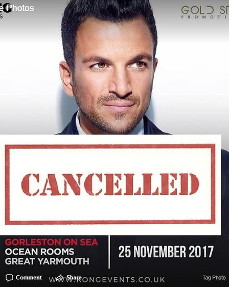 The Peter Andre appereance has been cancelled.Picture: Ocean Room/Facebook