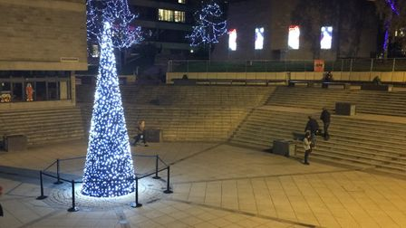 The Christmas Tree in the University of East Anglia (UEA) square. A student was fined £100 for climb