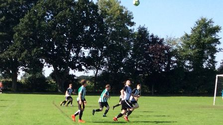 Action from the game between new teams Felthorpe (green/white) and Salhouse Picture: Steve Brown