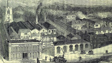 Engraving of the Crystal House and surrounding area in Prospect Place, Norwich, when it was owned by