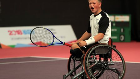 England's Ben Bartram reacts after winning his match during the Wheelchair Tennis Competition Pictur