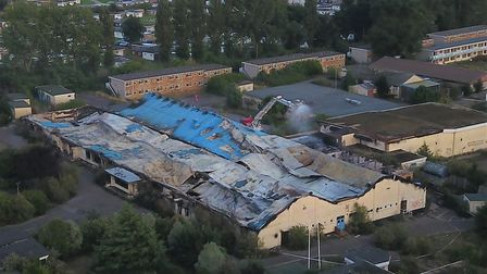 An aerial photo of the former Pontins site at Hemsby, captured with a DJI drone, as fire crews deal