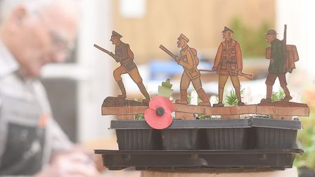 Gerry Tann has been working with local schools to make over 600 mini wooden figure soldiers, to mark