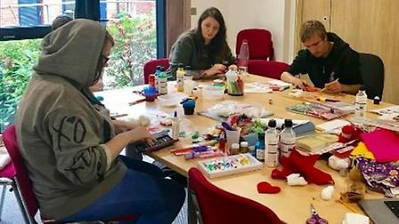Young people create artwork at YMCA. PHOTO: YMCA Norfolk