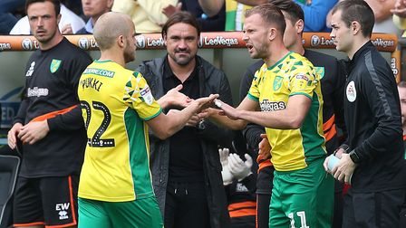 Daniel Farke has both Teemu Pukki, left, and Jordan Rhodes to choose from if he continues to play wi