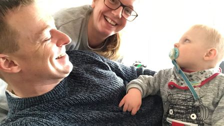 Emma and Andrew Goodson with son William, who has Angelman Syndrome. The family are supporting Jeans