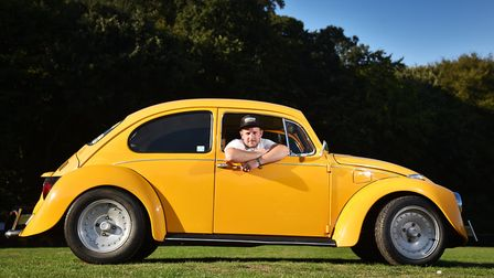 Michael Rant with his VW Beetle.Picture: ANTONY KELLY