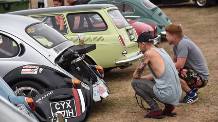Fans examine the finer points of the car at Whitenoise Picture: Sonya Duncan
