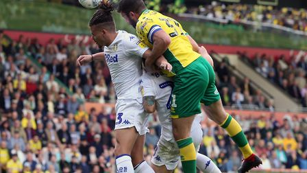 Grant Hanley rises for a header but can't force an early Norwich City boost. Picture: Paul Chesterto