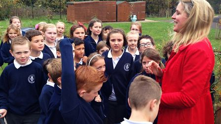 Joannah Metcalfe, founder of Greener Growth, with youngsters at Little Plumstead Church of England