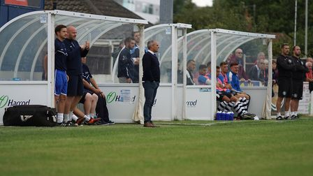 Lowestoft Town boss Jamie Godbold looks on. Picture: Shirley D Whitlow