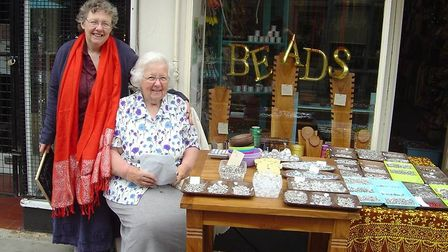 June with her daughter Anne outside the family Bead Shop in St Benedict's Street, Norwich. Photo: Fa