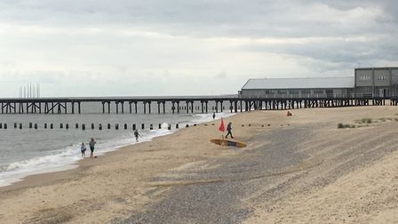 People were paddling in the water near Claremont Pier despite pollution warnings. Picture: Conor Mat