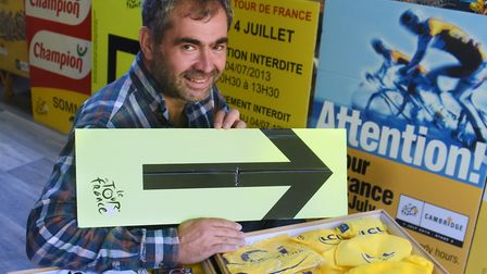 Peter Martin with part of his Tour de France memorabilia collection, spanning over 20 years of visit