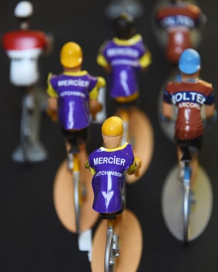 The model Tour de France cyclists with their names on their backs in Peter Martin's collection. Pict