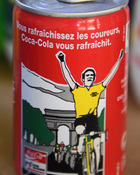 A branded Tour de France can of Coca-Cola in Peter Martin's collection. Picture: DENISE BRADLEY