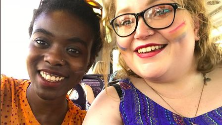 Wedaeli Chibelushi, from Norwich (left) started the The Diss(ability) Track with her friend Steph Wi
