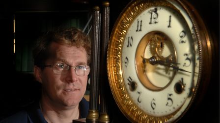 Simon Michlmeyer with the Gurney Clock in 2004. Photo: Adrian Judd.