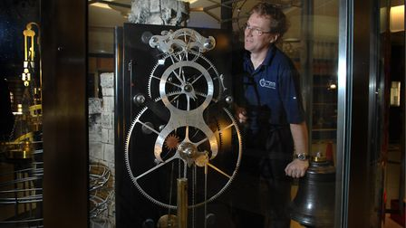 Simon Michlmeyer with the Gurney Clock in 2004. Photo: Adrian Judd .