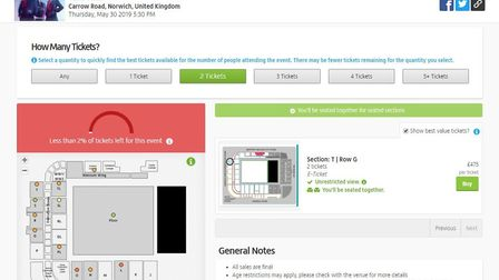 Tickets for Take That at Carrow Road are already on re-sale site Viagogo for £475. Screenshot of Via