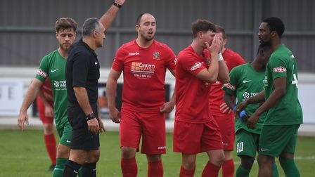Wisbech Town midfielder Danny Setchell is dismissed against Brighouse. Picture: IAN CARTER