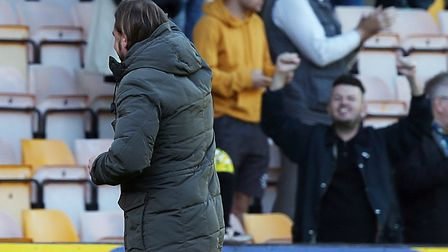 Norwich City head coach Daniel Farke gives fans the thumbs up after his side's 1-0 win over Wigan. P