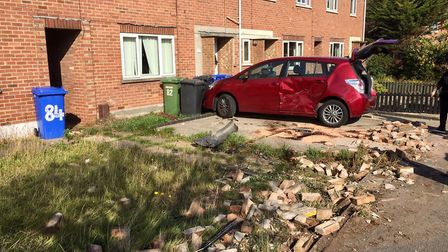 The devastation caused following a crash on Montgomery Avenue. Picture: Mick Howes