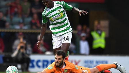 Norwich City winger Diallang Jaiyesimi - here in Carabao Cup action while on loan at Yeovil Town - w
