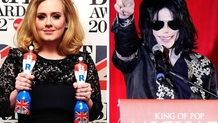 Adele and Michael Jackson. Both have two albums in the top 20 Picture: PA